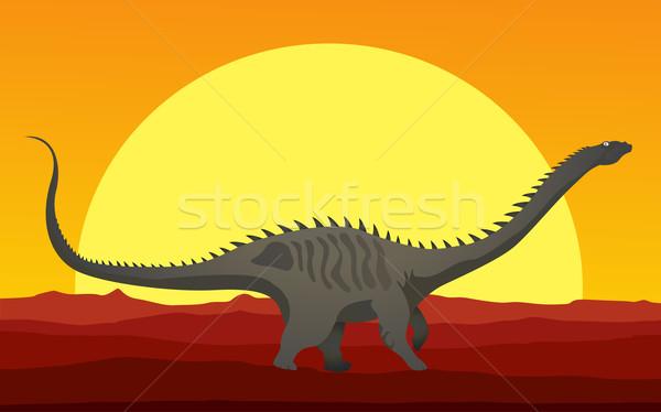 динозавр Cartoon стиль рисунок Мир зубов Сток-фото © lirch