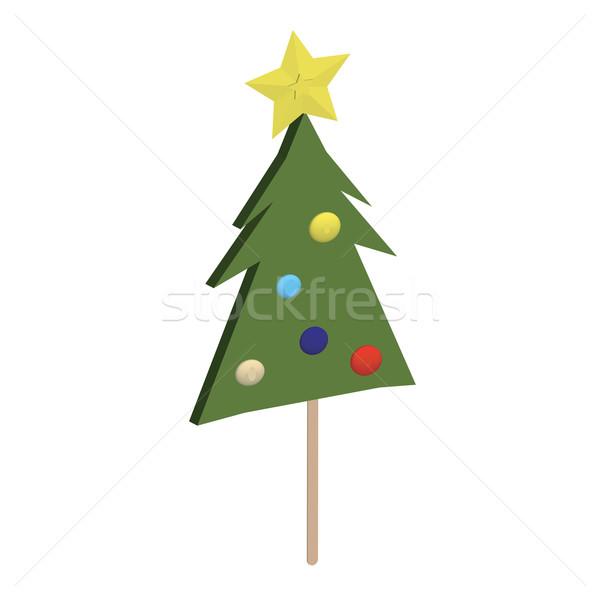 árbol de navidad diversión arco iris retro blanco Navidad Foto stock © lirch