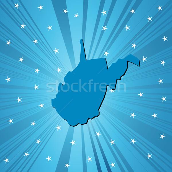 Kék Nyugat-Virginia térkép absztrakt Stock fotó © lirch