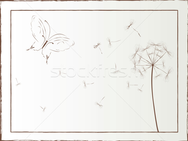 Dandelion and butterfly framed illustration, vector art Stock photo © lirch