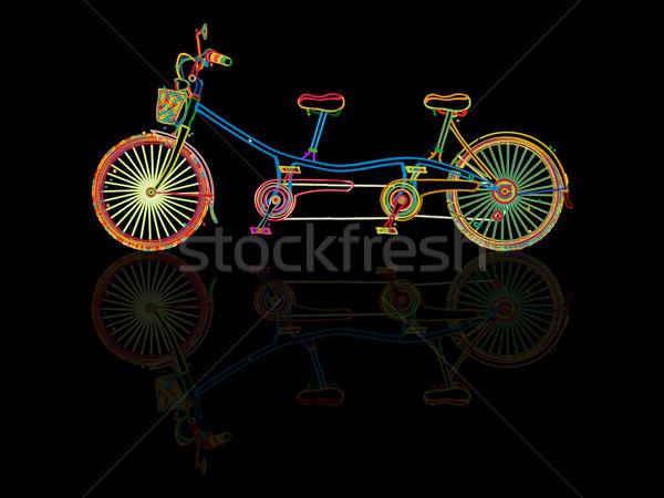 тандем велосипед стилизованный отражение черный семьи Сток-фото © lirch
