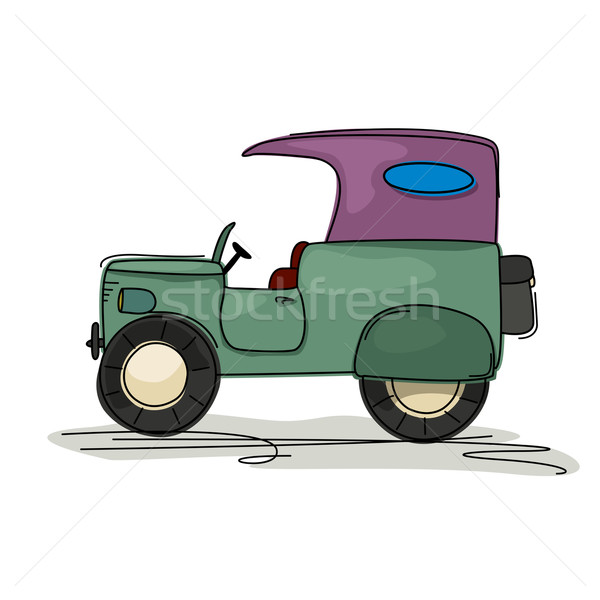 Vintage jeep cartoon stijl tekening retro Stockfoto © lirch