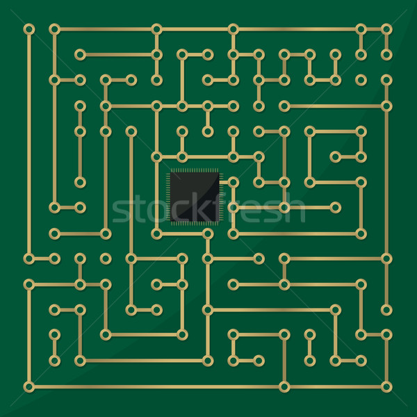 Computer microchip labyrinth Stock photo © lirch
