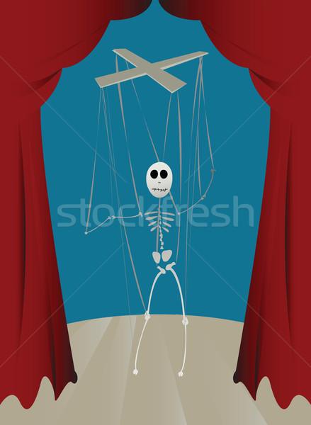 Fantoche esqueleto escritório homem terno trabalhando Foto stock © lirch