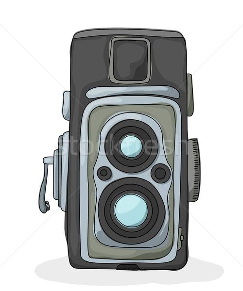 Stock fotó: Régi · fényképezőgép · rajz · fehér · film · test · technológia