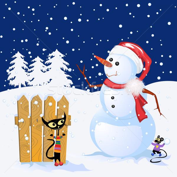 зима праздник снеговик милые животные дизайна Hat Сток-фото © lirch
