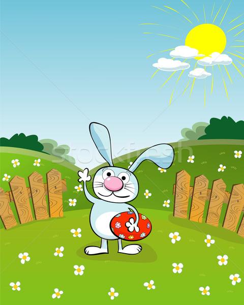Paskalya kart karikatür tavşan yumurta bebek Stok fotoğraf © lirch