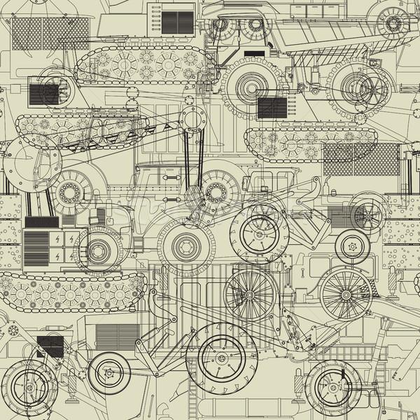 Costruction vehicles pattern Stock photo © lirch