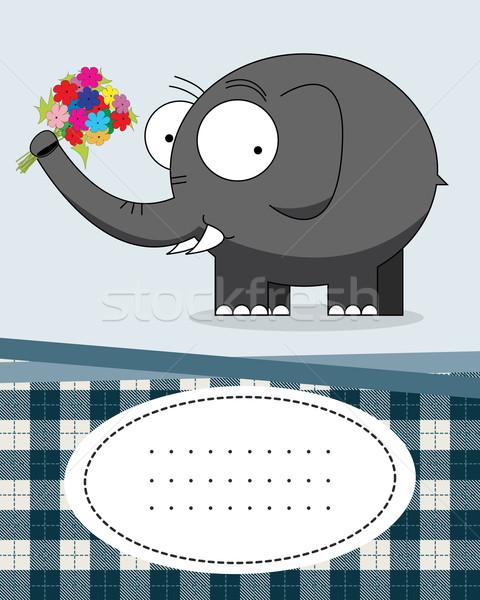 Texte carte éléphant cartoon style personnage Photo stock © lirch