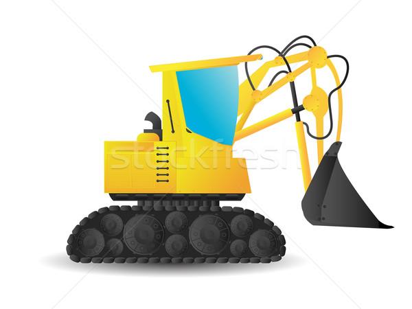 掘削機 定型化された 漫画 白 建設 地球 ストックフォト © lirch