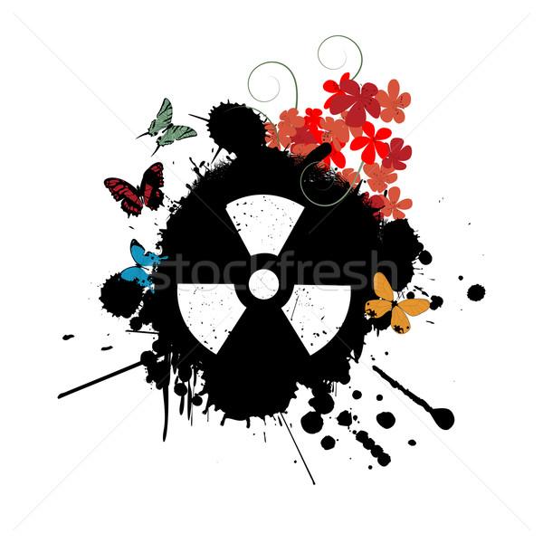 Nükleer soyut radyasyon çiçekler kelebekler Stok fotoğraf © lirch