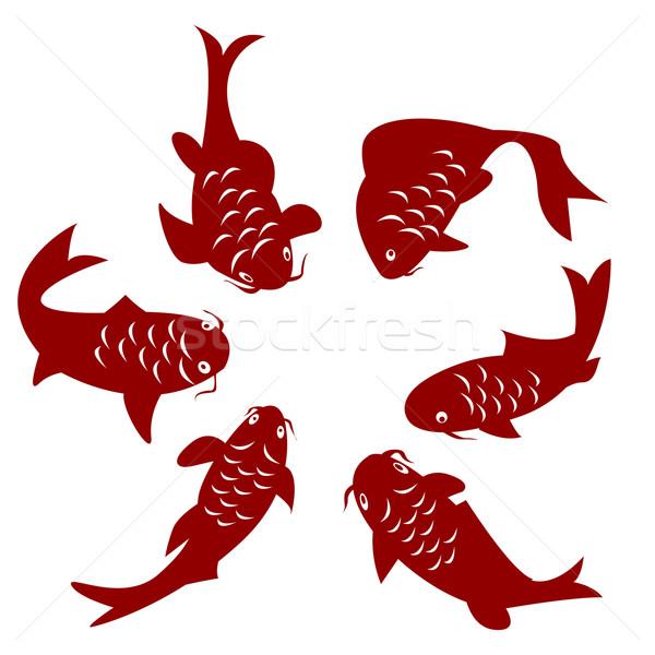Koi poissons carpe silhouettes blanche design Photo stock © lirch