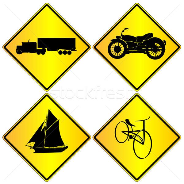 Metalic transport signs set Stock photo © lirch