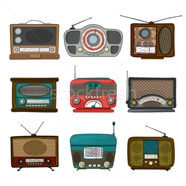 Retro radio icons Stock photo © lirch