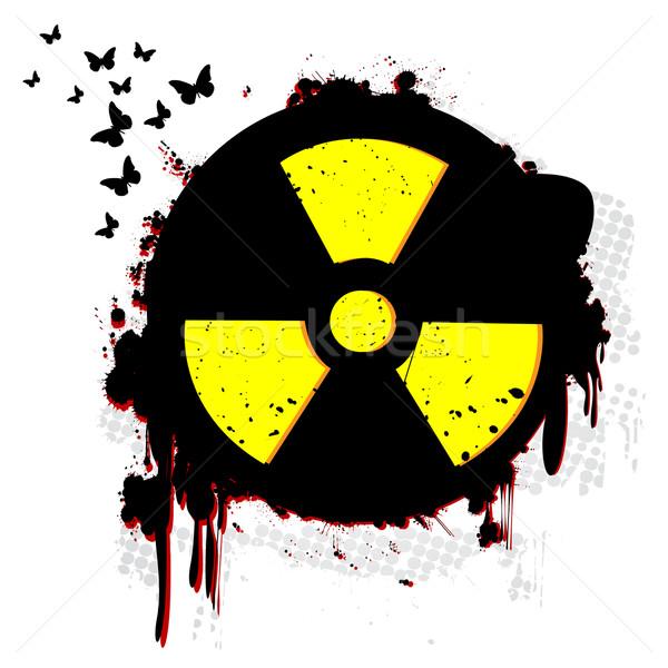 Nükleer grunge simge beyaz doku teknoloji Stok fotoğraf © lirch