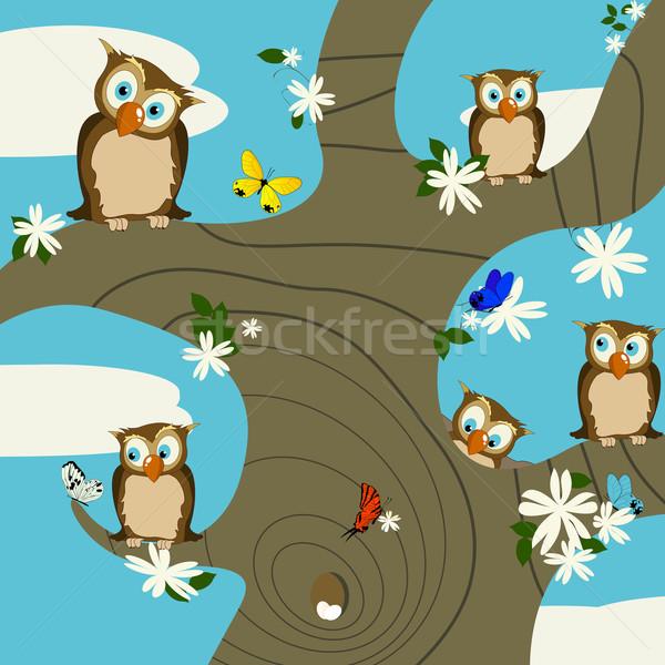 Baykuşlar bahar sevimli kelebekler kelebek gözler Stok fotoğraf © lirch