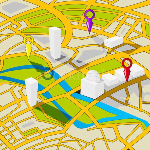Perspektive Ansicht Straßenkarte Stadtstraße Karte Stock foto © lirch