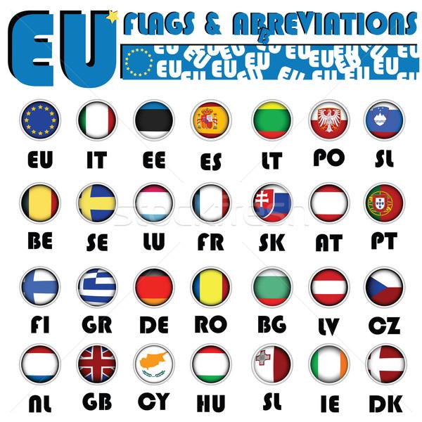 Europese unie vlaggen realistisch knoppen land Stockfoto © lirch