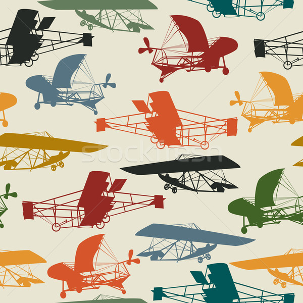 Seamless pattern with historical planes Stock photo © lirch