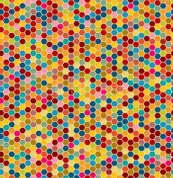Hatszög végtelen minta csempék retro terv absztrakt Stock fotó © lirch