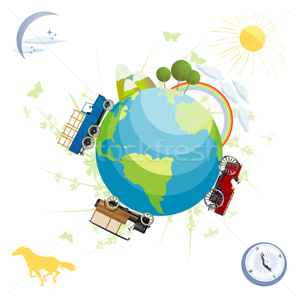 Planeta tierra paisaje verde planeta transporte elementos Foto stock © lirch