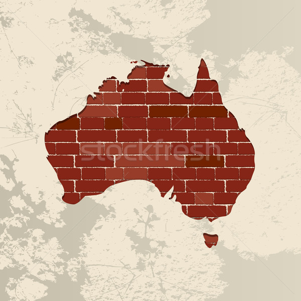 Австралия стены карта кирпичная стена дизайна путешествия Сток-фото © lirch