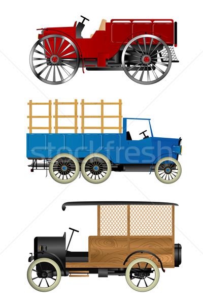 öreg teherautók retro izolált tárgyak fehér iroda Stock fotó © lirch