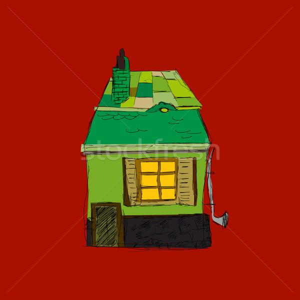 теплица икона рисованной эскиз интернет здании Сток-фото © lirch