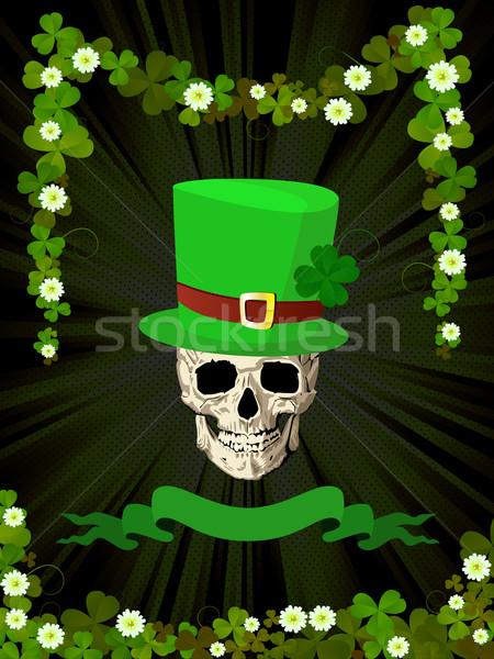 St.Patrick skull and clovers Stock photo © lirch