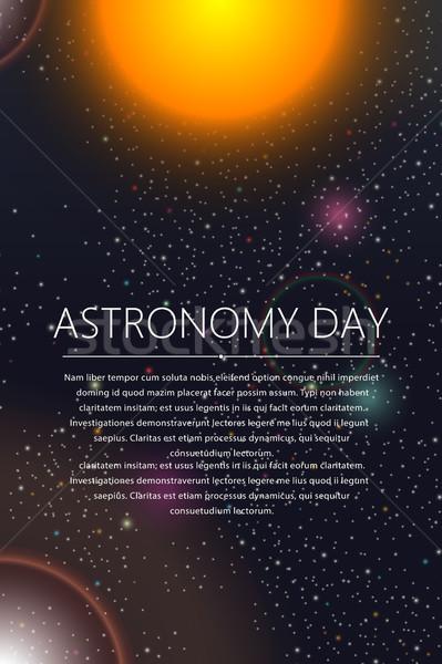 Astronomia dzień karty powitanie tekst słońce Zdjęcia stock © lirch
