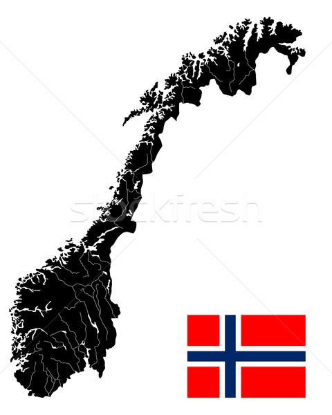 詳しい ノルウェー 地図 フラグ 白 デザイン ストックフォト © lirch