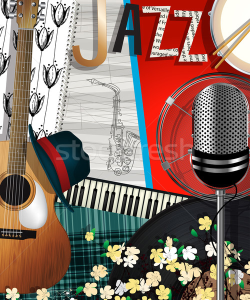 Collage jazz musique résumé illustration carte Photo stock © lirch