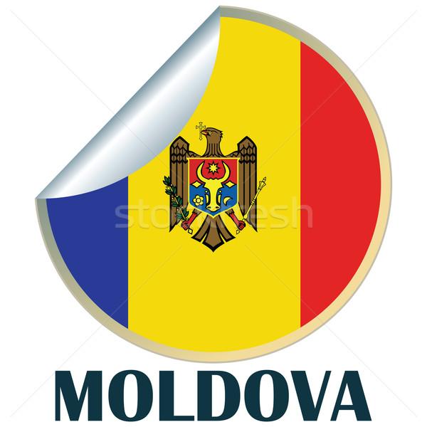 Moldova matrica zászló terv felirat kitűző Stock fotó © lirch