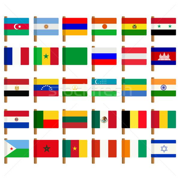Wereld vlag witte Stockfoto © lirch