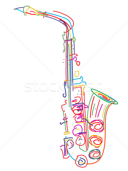 Stylisé saxophone illustration blanche jazz sonores Photo stock © lirch