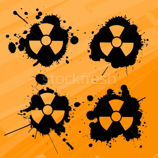 Nükleer uyarı işaretleri dizayn elemanları arka plan Stok fotoğraf © lirch