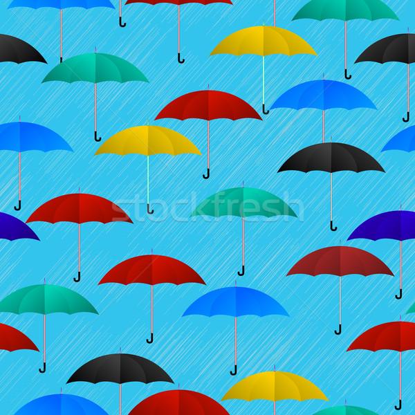 Regenachtig dag gekleurd parasols mode Stockfoto © lirch