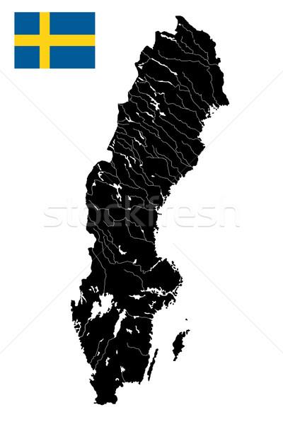 Svezia dettagliato mappa alto vettore fiumi Foto d'archivio © lirch