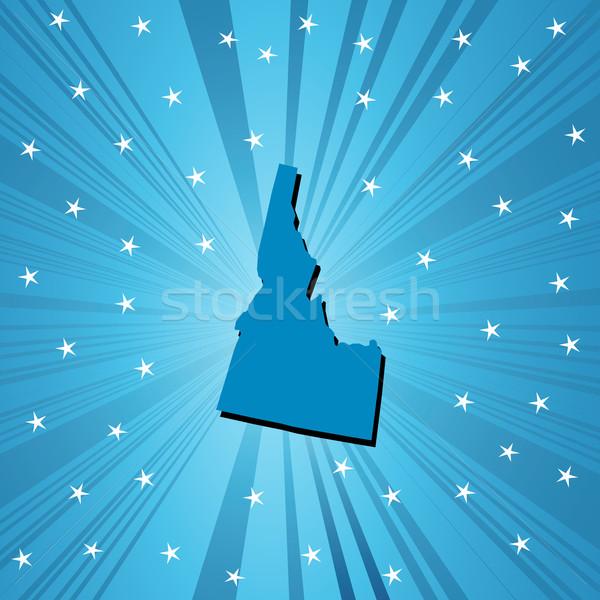 Blauw Idaho kaart abstract Stockfoto © lirch