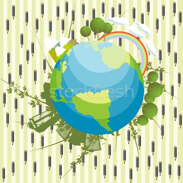 Soyut ekolojik dünya gezegeni grafik yağmur doku Stok fotoğraf © lirch