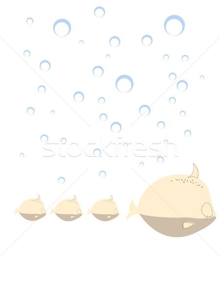 семьи рыбы дизайна печать белый Сток-фото © lirch