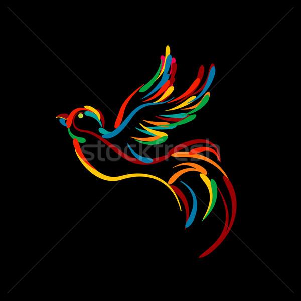 Stylish bird icon Stock photo © lirch