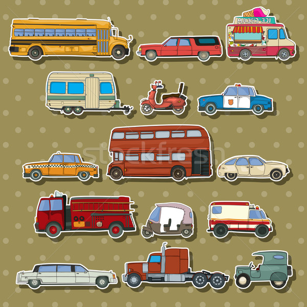 Auto cartoon stickers vervoer sticker ingesteld Stockfoto © lirch
