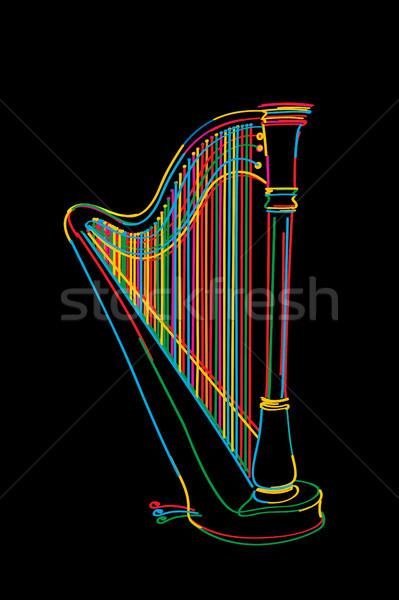 Hárfa rajz díszített színek fekete háttér Stock fotó © lirch