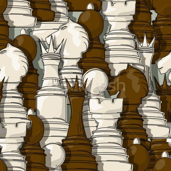 Sakkfigurák minta végtelen minta absztrakt háttér sportok Stock fotó © lirch