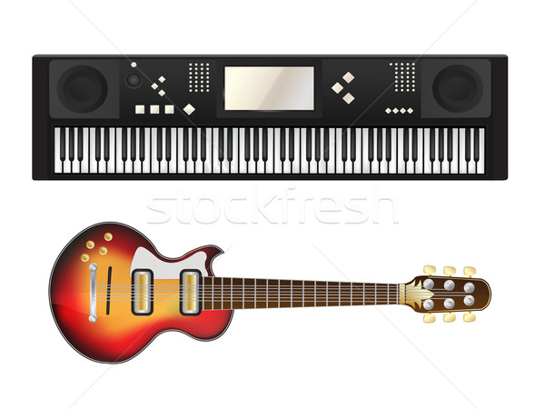 Electric guitar and synthesizer Stock photo © lirch
