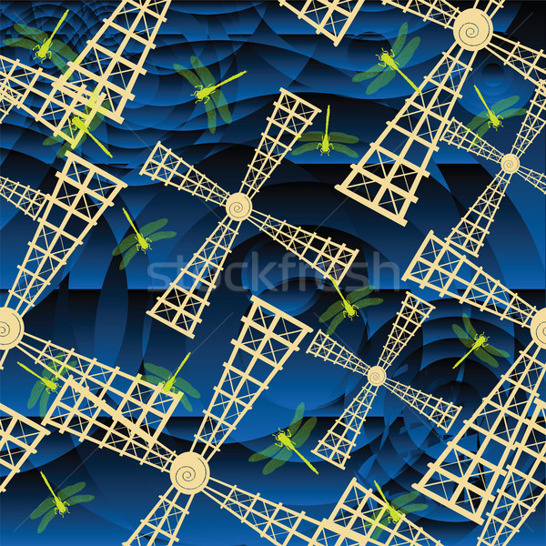 Windmill Dragonfly стилизованный синий шаблон Сток-фото © lirch