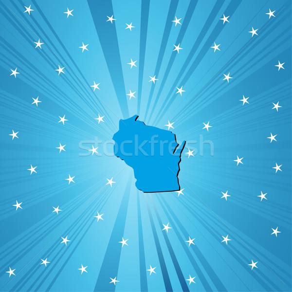 Mavi harita Wisconsin soyut şehir arka plan Stok fotoğraf © lirch