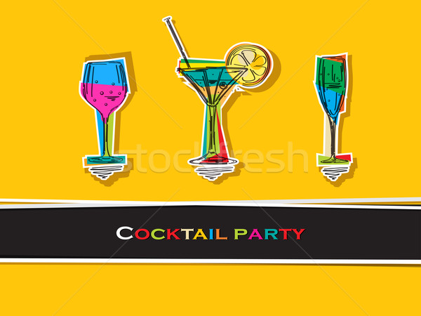 Cocktail party kaart pop art glas drinken retro Stockfoto © lirch