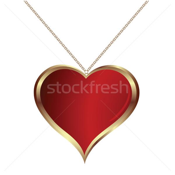 Coração fundo vermelho ouro dom branco Foto stock © lirch